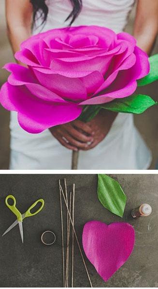 purpurinė rožė iš tampomo popieriaus