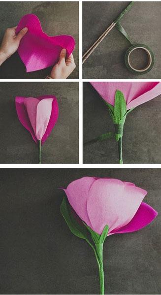 gėlė iš tampomo popieriaus