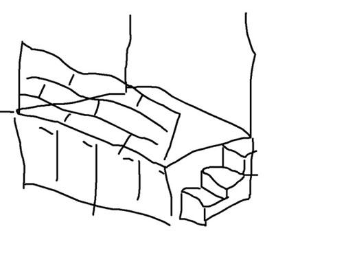 lova ant pakylos, eskizas