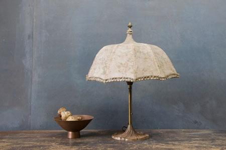 medžiaginis, skėčio formos stalinės lempos gaubtas
