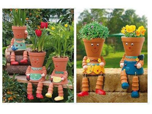 sodo dekoracijos žmogeliukai iš vazonų