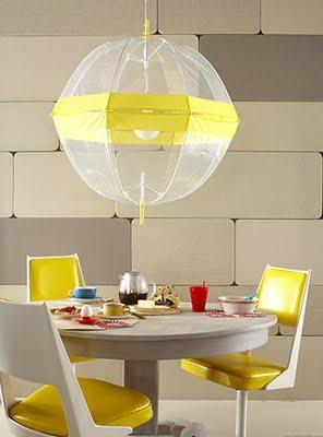 du permatomi skėčiai šviestuvas virš stalo
