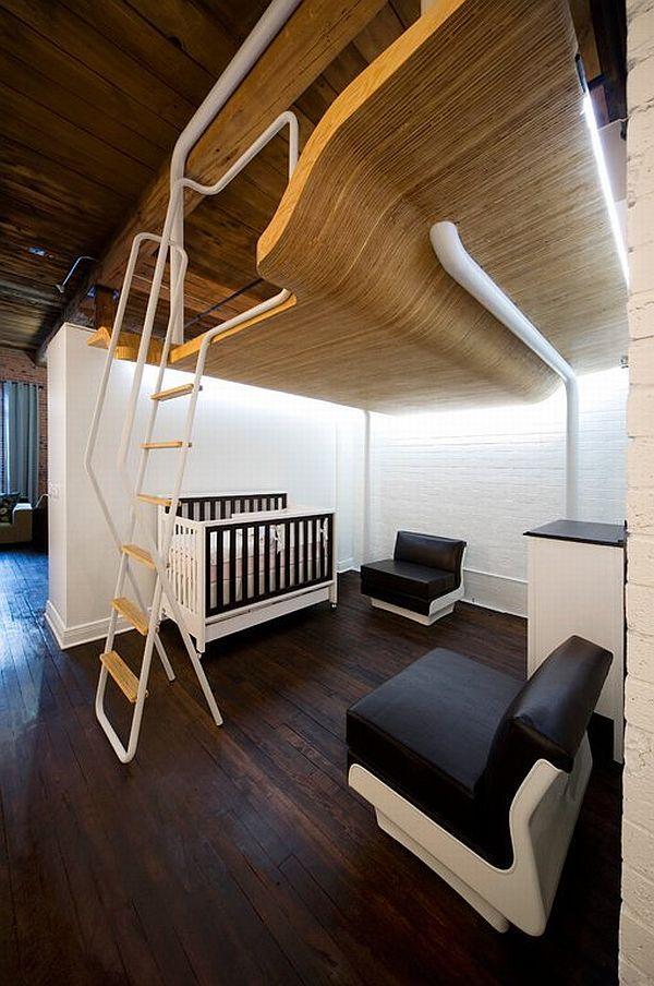 nedidelis butas, kopėčios į miegamąjį