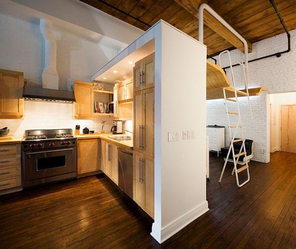 nedidelis atviros erdvės butas, virtuvė, svetainė, miegamasis