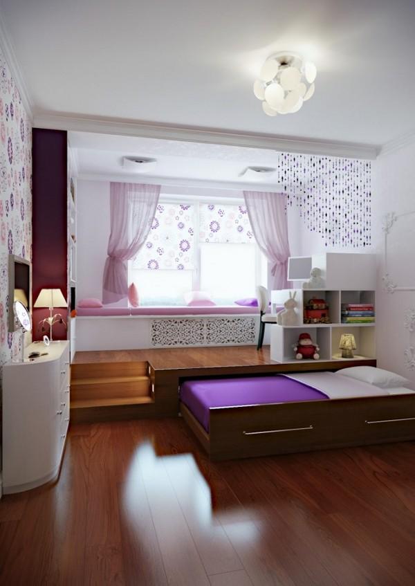 violetine lova sustumiama palange