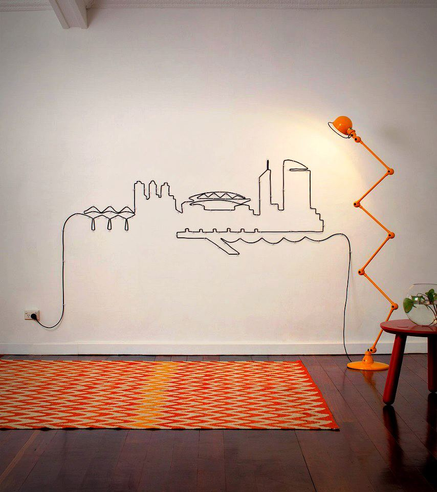 dekoratyvinis piesinys elektros laidu