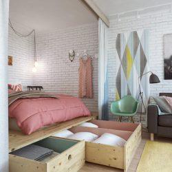 45 m butas miegamasis lentynos po lova