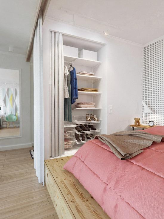45 m butas miegamasis lentynos uz uzuolaidos