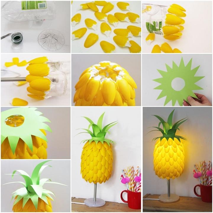 plastikiniai sauksteliai lempa ananasas