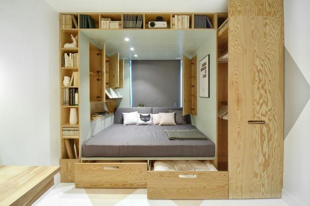 daugiafunkcinis blokas kambaryje miegamasis lentynos