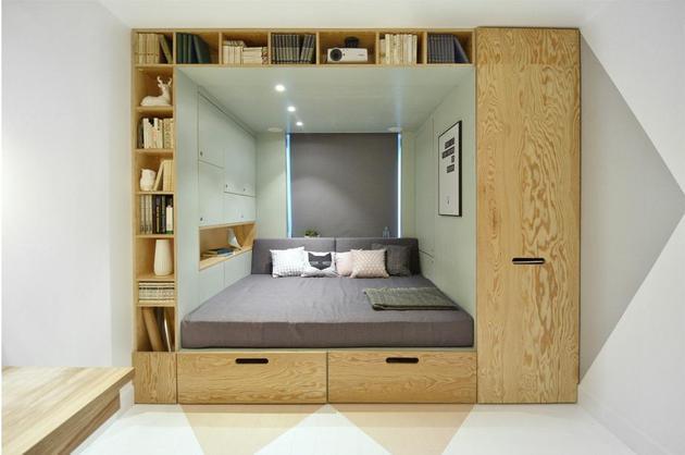 daugiafunkcinis blokas kambaryje miegamasis