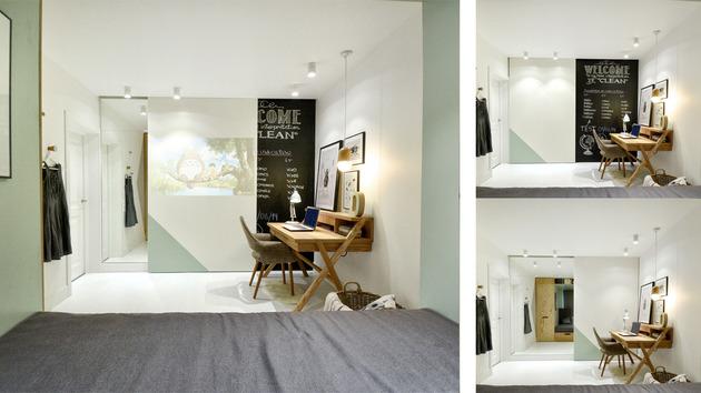 daugiafunkcinis blokas kambaryje stalas  detales veidrodis
